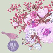 Stock Illustration of Gentle Spring Floral Bouquet with Birds