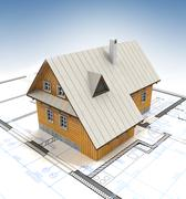 mountain cottage building with layout plan and clear blue sky illustration - stock illustration