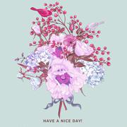 Gentle Spring Floral Bouquet with Birds - stock illustration