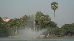 Fountain in Kandawgyi lake Stock Footage
