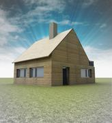 wooden cottage with chimney on the roof and sky illustration - stock illustration
