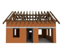 Isolated bricked house front facade with garage illustration Stock Illustration