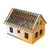 Stock Illustration of isolated house roofing design blend transition illustration