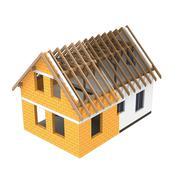isolated house construction design section transition illustration - stock illustration