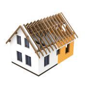 isolated house design section transition illustration - stock illustration