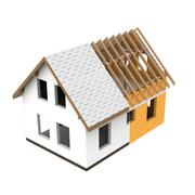 isolated house structural design section transition illustration - stock illustration