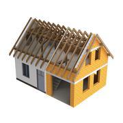timbered construction house design transition illustration - stock illustration
