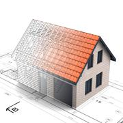 brick construction house design blend transition illustration - stock illustration
