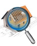 Stock Illustration of magnifying glass rentgen house construction detail illustration