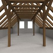 isolated attic wooden construction perspective veiw illustration - stock illustration