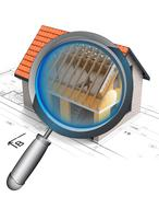 Stock Illustration of magnifying glass roof construction detail illustration