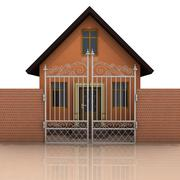 house with brick wall and closed fence on white illustration - stock illustration