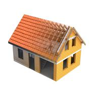 Stock Illustration of isolated brick construction house design blend transition illustration