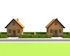 Two houses in neighborhood on white illustration Stock Illustration