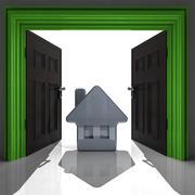 New house in green framed doorway illustration Stock Illustration
