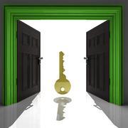 metallic key in green framed doorway illustration - stock illustration