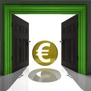 euro coin in green framed doorway illustration - stock illustration