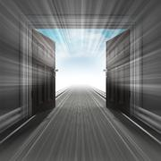 blured fast ride through doorway with sky illustration - stock illustration