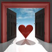 Love heart in red doorway with sky illustration Stock Illustration