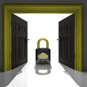 metallic padlock in golden doorway illustration - stock illustration