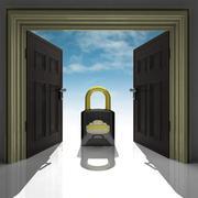 Metallic padlock in doorway with sky illustration Stock Illustration