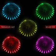 Five amazing colorful explosions splash firework series illustration Stock Illustration