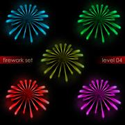 Five amazing colorful radial explosions firework pack illustration Stock Illustration