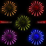 Five amazing colorful explosions splash firework pack illustration Stock Illustration