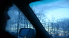 Passenger on a front seat into a car Stock Footage