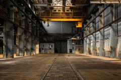 Industrial interior of an old factory Stock Photos