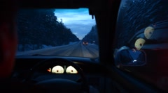 Winter road in the forest , the view from the driver's seat , dangerous overtaki Stock Footage