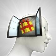 Gift surprise coming out or in human head through window concept illustration Stock Illustration