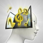 Music coming out or in human head through window concept illustration Stock Illustration