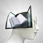 Education book coming out or in human head through window knowledge concept Stock Illustration