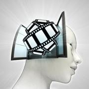 Movie tape fun coming out or in human head through window concept Stock Illustration