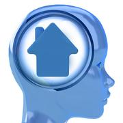 Blue human head with brain cloud with house icon inside illustration Stock Illustration