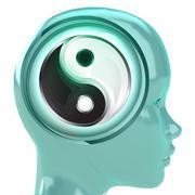 Blue human head with brain cloud with yin yang harmony inside illustration Stock Illustration