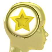 Yellow human head with brain cloud with top star inside illustration Stock Illustration