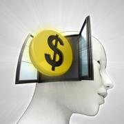 dollar coin investment coming out or in human head through window concept - stock illustration