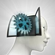 industrial cogwheel  part coming out or in human head through window concept - stock illustration