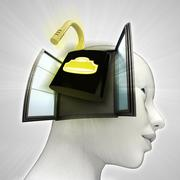 open security padlock coming out or in human head through window concept - stock illustration