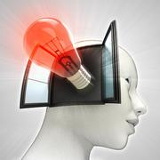 red shining bulb invention coming out or in human head through window concept - stock illustration