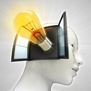 yellow shining bulb invention coming out or in human head through window - stock illustration