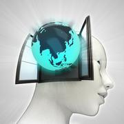 Asia globe coming out or in human head through window concept illustration Stock Illustration