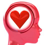 red human head with brain cloud with love heart inside illustration - stock illustration