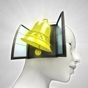 golden bell alarm coming out or in human head through window concept - stock illustration
