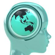 Blue human head with brain cloud with asia globe inside illustration Stock Illustration