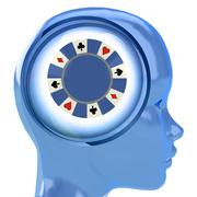 blue human head with brain cloud with poker chip inside illustration - stock illustration