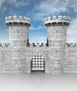 Medieval stoned castle gate with towers and sky illustration Stock Illustration