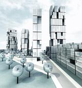 skyscraper steel metallic city development illustration - stock illustration